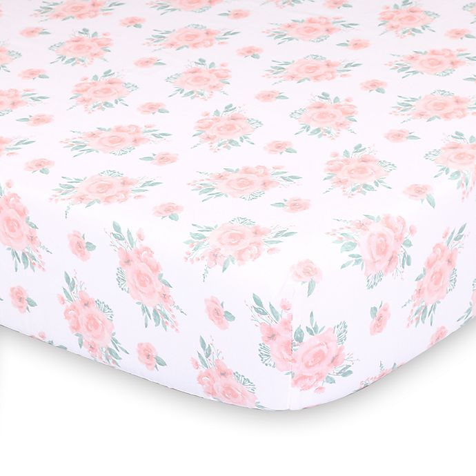 Alternate image 1 for The Peanutshell™ Farmhouse Floral Fitted Crib Sheet
