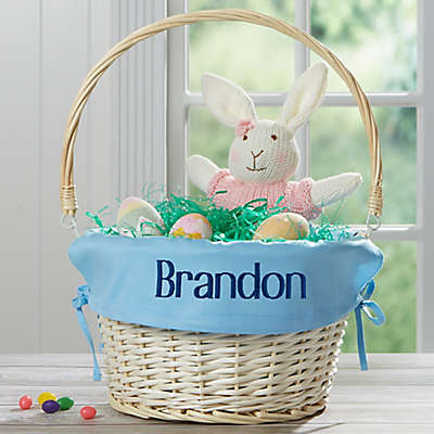 Personalized Willow Easter Basket with Drop-Down Handle