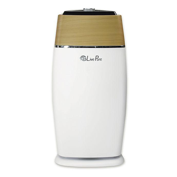 Alternate image 1 for LivePure® Sierra Series HEPA Medium Tower Air Purifier in White/Teak