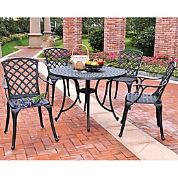 Crosley 5-Piece Sedona 46.5-Inch Round Outdoor Dining Set with High Back Chairs