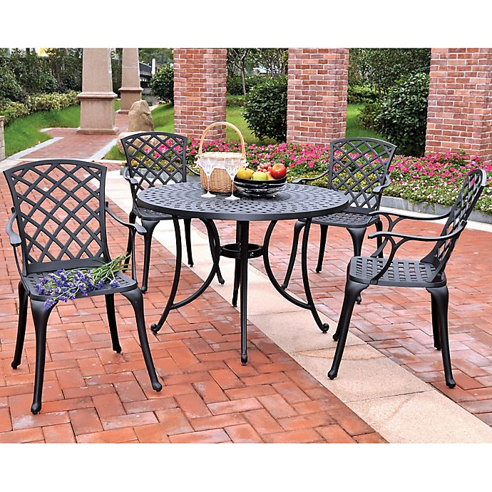 Wondrous Crosley 5 Piece Sedona 46 5 Inch Round Outdoor Dining Set Short Links Chair Design For Home Short Linksinfo