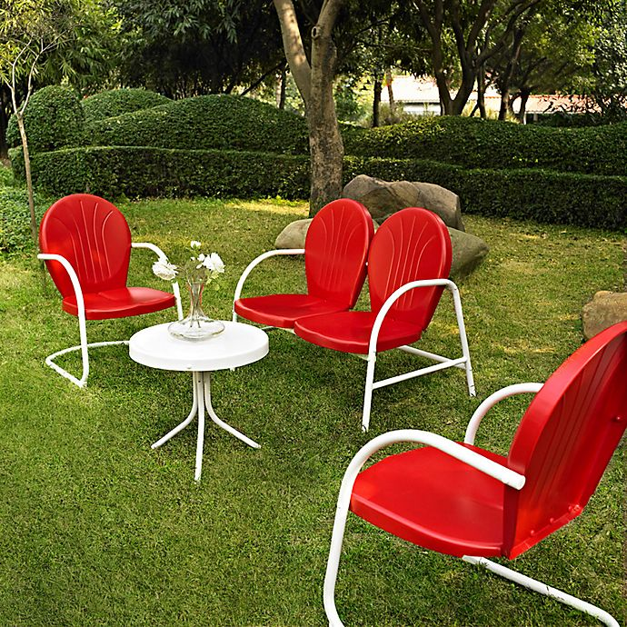 Alternate image 1 for Crosley Griffith 4-Piece Metal Outdoor Seating Set in Red/White