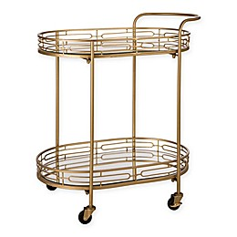 Deluxe Oval Metal Mirrored Bar Cart in Gold