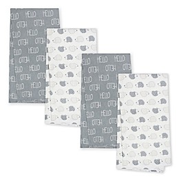 Gerber® 4-Pack Hedgehog Organic Cotton Flannel Blankets in Grey
