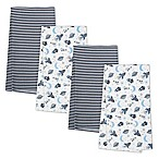 Gerber® 4-Pack Outer Space Flannel Blankets in Blue