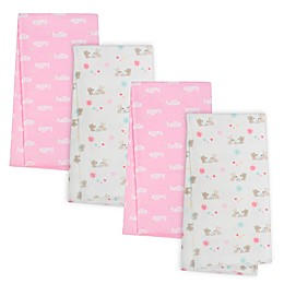 Gerber® 4-Pack Woodland Organic Cotton Flannel Blankets in Pink