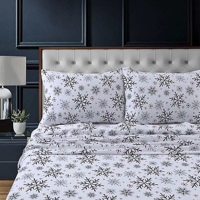 Alternate image 1 for Tribeca Living Let It Snow Flannel Deep-Pocket Twin Sheet Set in Dark Blue