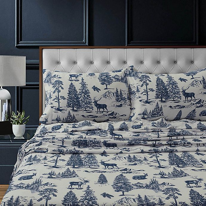 Alternate image 1 for Tribeca Living Mountain Toile Flannel Deep-Pocket Twin Sheet Set in Navy/Blue