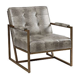 INK+IVY Waldorf Lounge Chair in Grey Snakeskin/Antique Silver