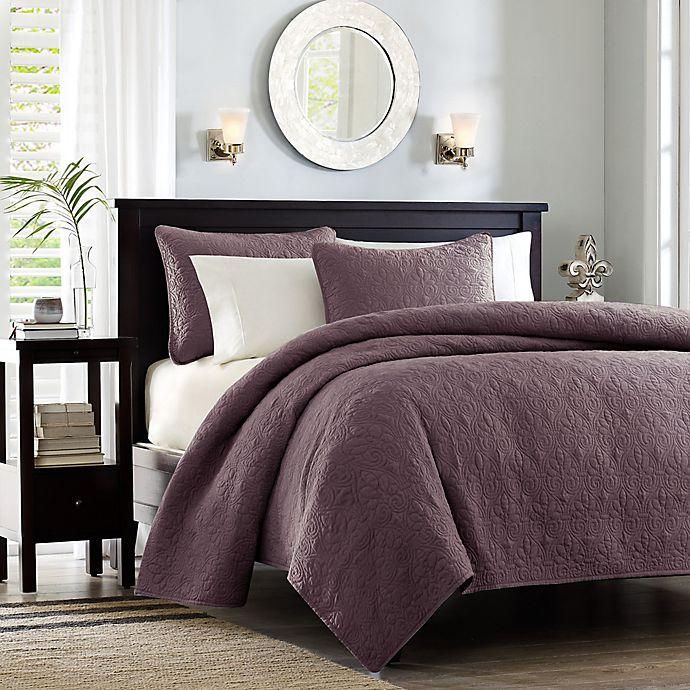 Alternate image 1 for Madison Park Quebec Reversible King Bedspread Set in Purple