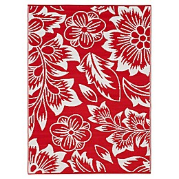 Tahiti Indoor/Outdoor Patio Mat in Red/White