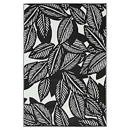 Maldives Indoor/Outdoor Patio Mat in Black/White