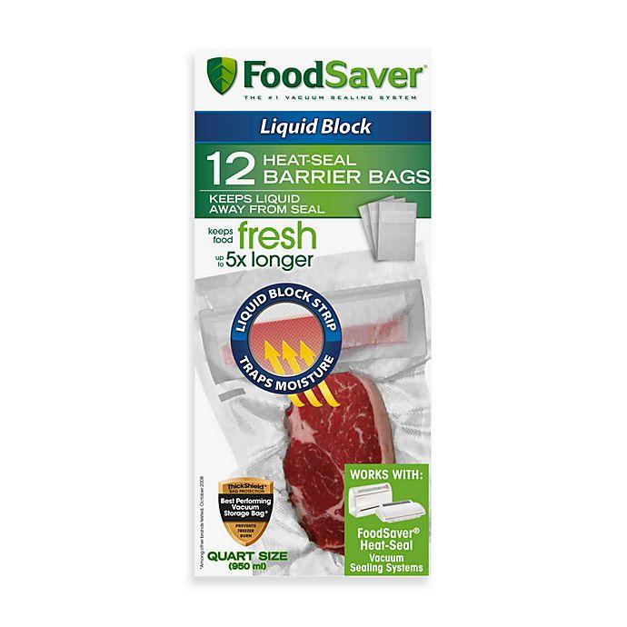 Alternate image 1 for FoodSaver® qt. Size 12-Bag Pack Liquid Block Heat-Seal Barrier Bags