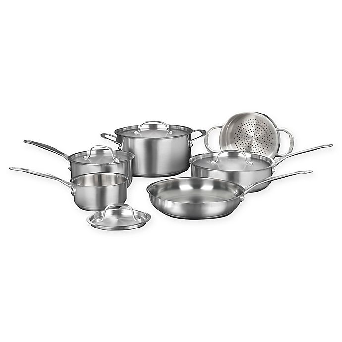 Alternate image 1 for Cuisinart® 10-Piece Brushed Stainless Steel Cookware Set
