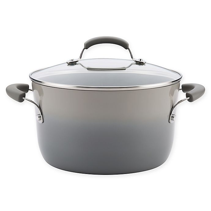 Alternate image 1 for Rachael Ray® Classic Brights Nonstick 6 qt. Covered Stock Pot in Sea Salt Grey