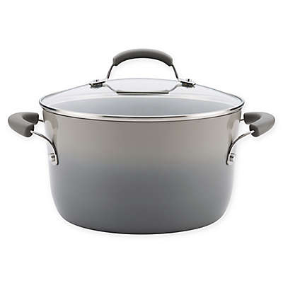 Rachael Ray® Classic Brights Nonstick 6 qt. Covered Stock Pot in Sea Salt Grey