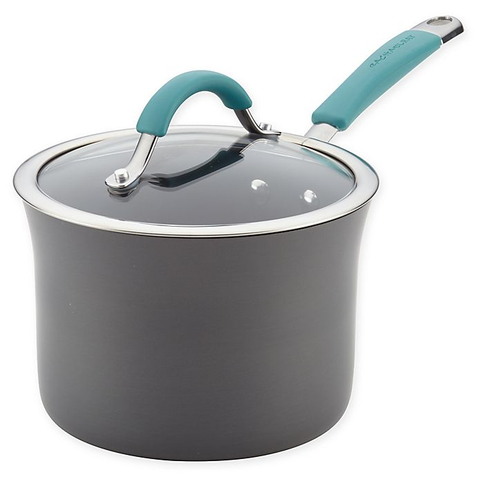 Alternate image 1 for Rachael Ray™ Cucina Nonstick 3 qt. Hard Enamel Covered Saucepan in Grey/Agave Blue