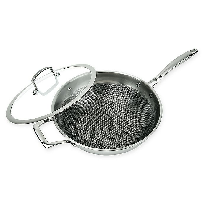 Alternate image 1 for MasterPan Chef's Series Tri-Ply Stainless Steel 11-Inch Covered Wok with Helper Handle