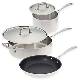 American Kitchen® Stainless Steel 5-Piece Cookware Set with 10-Inch Nonstick Fry Pan