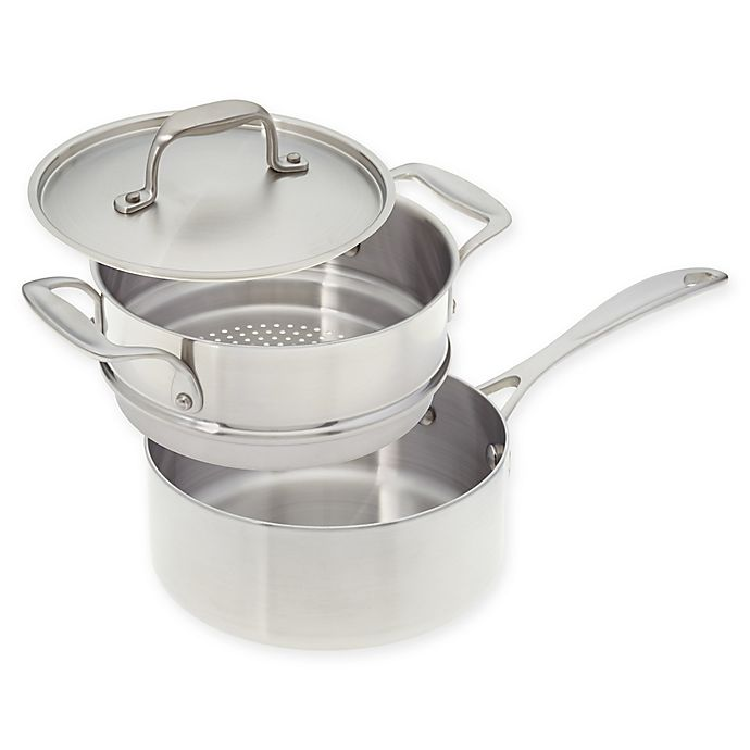 Alternate image 1 for American Kitchen® Tri-Ply 2 qt. Stainless Steel Covered Saucepan with Steamer Insert