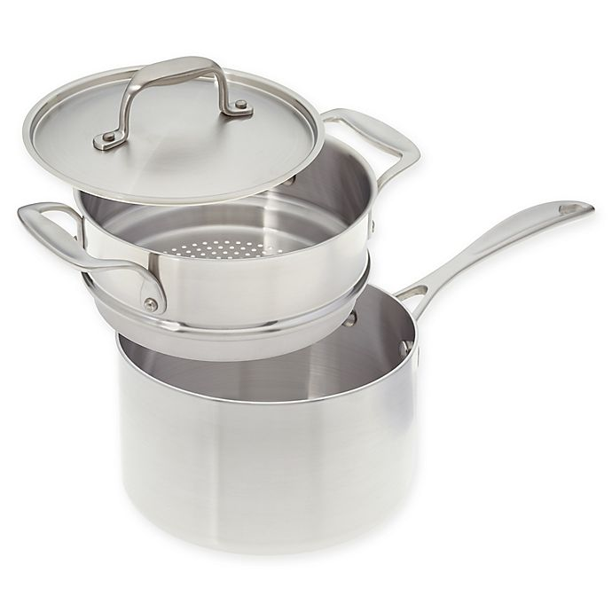 Alternate image 1 for American Kitchen® Tri-Ply 3 qt. Stainless Steel Covered Saucepan with Steamer Insert
