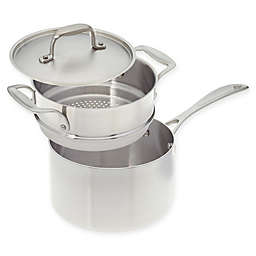 American Kitchen® Tri-Ply Stainless Steel Covered Saucepan with Steamer Insert