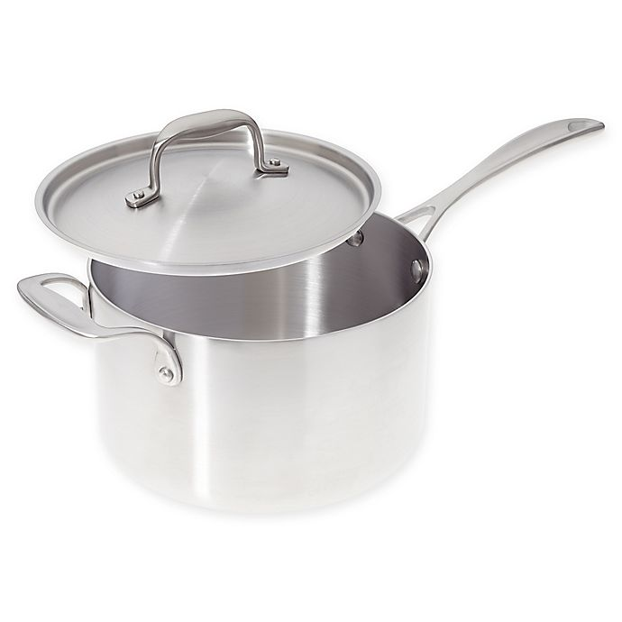 Alternate image 1 for American Kitchen® 4 qt. Tri-Ply Stainless Steel Covered Saucepan