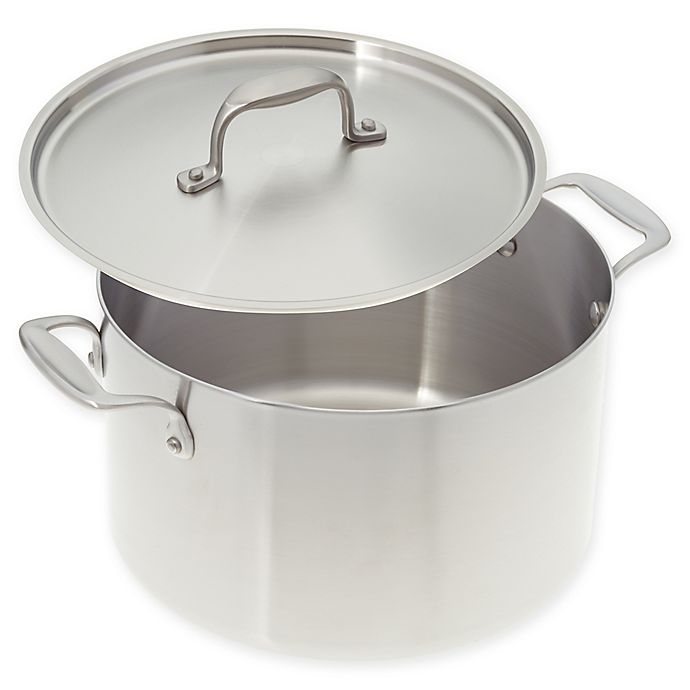 Alternate image 1 for American Kitchen® 8 qt. Tri-Ply Stainless Steel Covered Stock Pot