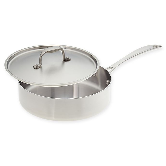 Alternate image 1 for American Kitchen® Tri-Ply 10-Inch Stainless Steel Covered Saute Pan
