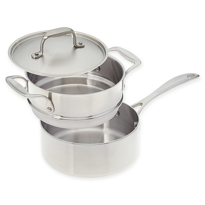 Alternate image 1 for American Kitchen® Tri-Ply 2qt. Stainless Steel Covered Saucepan with Double Boiler Insert