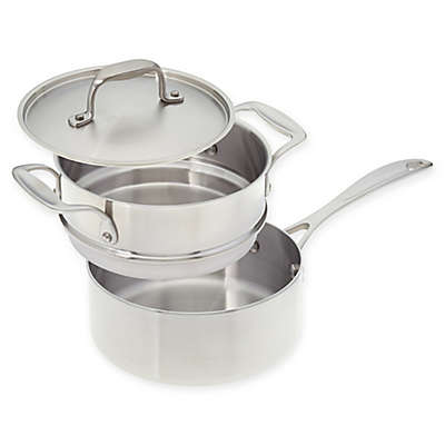 American Kitchen® Tri-Ply Stainless Steel Covered Saucepan with Double Boiler Insert