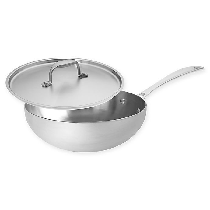 Alternate image 1 for American Kitchen® Tri-Ply 3 qt. Stainless Steel Covered Saucier