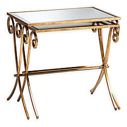 Baxton Studio 2-Piece Fallon Metal Tray Table Set in Antique Gold