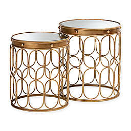 Baxton Studio Karly 2-Piece Table Set in Antique Gold