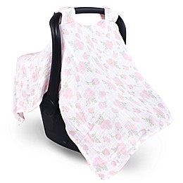 Hudson Baby® Muslin Car Seat Canopy in Pink Rose