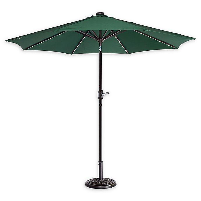 Alternate image 1 for Villacera 9-Foot LED Market Umbrella in Forest Green