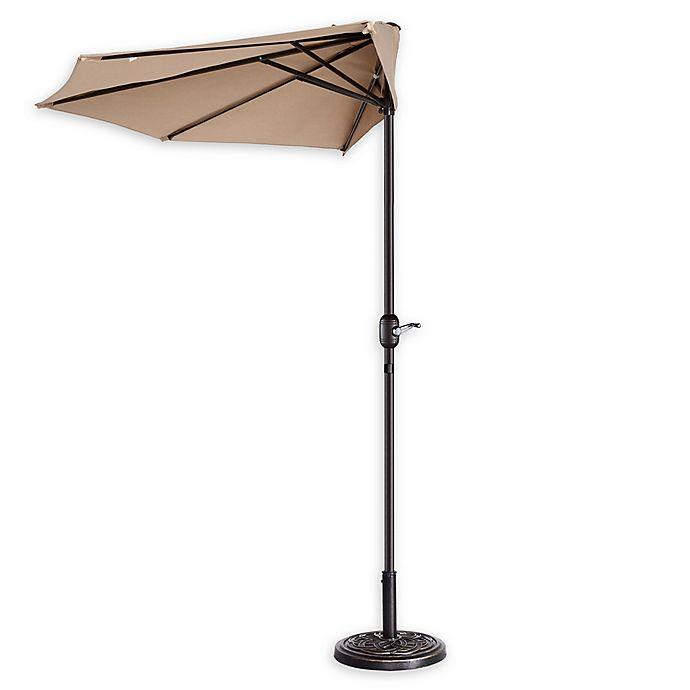 Alternate image 1 for Villacera 9-Foot Half Patio Umbrella in Beige