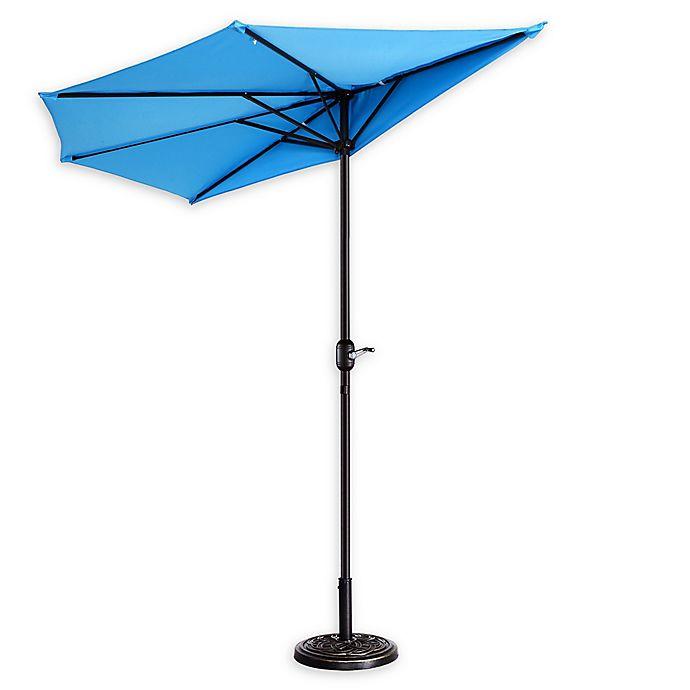 Alternate image 1 for Villacera 9-Foot Half Patio Umbrella in Blue
