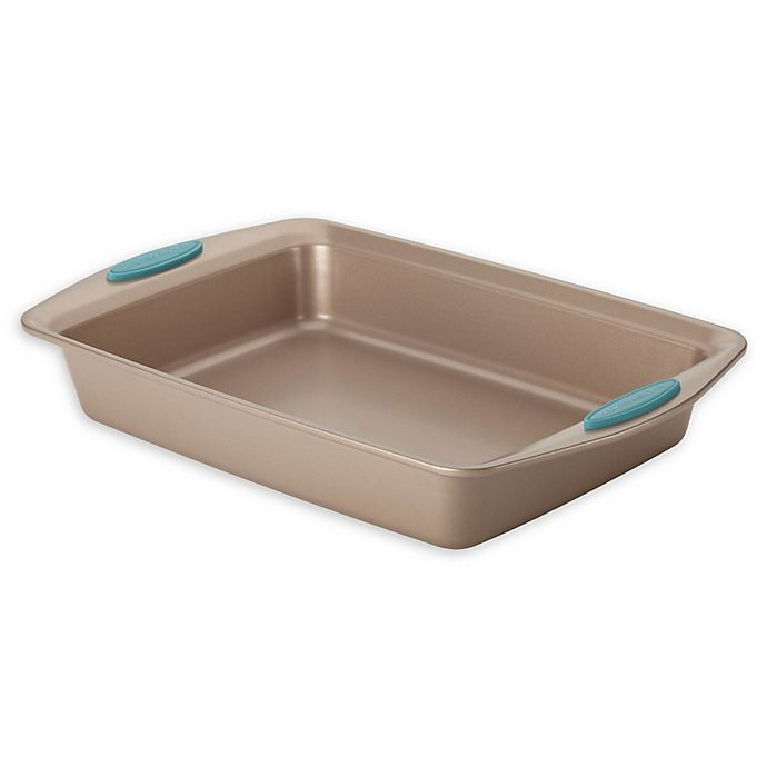 Alternate image 1 for Rachael Ray™ Cucina Nonstick 9-Inch x 13-Inch Cake Pan in Latte Brown/Agave Blue