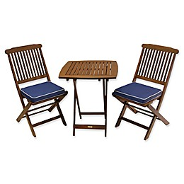 Outdoor Interiors Eucalyptus Wood 3-Piece Bistro Set