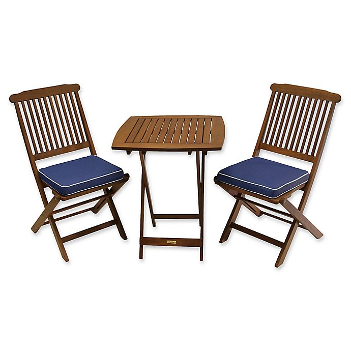 Awesome Outdoor Interiors Eucalyptus Wood 3 Piece Bistro Set Bed Cjindustries Chair Design For Home Cjindustriesco