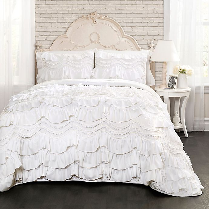 Alternate image 1 for Lush Decor Kemmy 2-Piece Twin Reversible Quilt Set in White