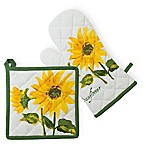 Boston International Sunflower 2-Piece Pot Holder and Oven Mitt Set