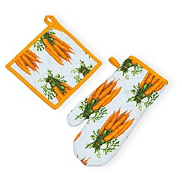 Boston International Carrot 2-Piece Pot Holder and Oven Mitt Set
