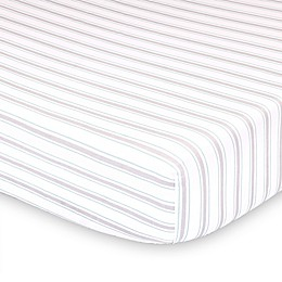 The Peanutshell™ Farmhouse Striped Fitted Crib Sheet in White/Green