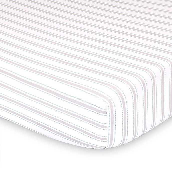 Alternate image 1 for The Peanutshell™ Farmhouse Striped Fitted Crib Sheet in White/Green