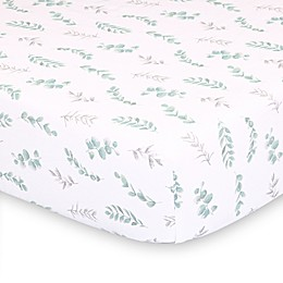 The Peanutshell™ Farmhouse Floral Leaves Fitted Crib Sheet