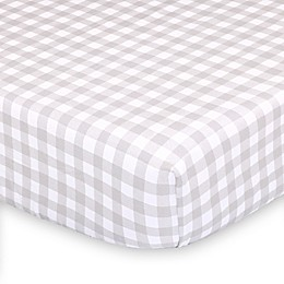 The Peanutshell™ Farmhouse Check Fitted Crib Sheet in White/Grey