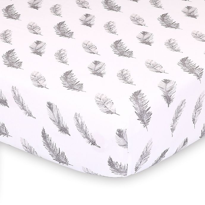 Alternate image 1 for The Peanutshell™ Farmhouse Feathers Fitted Crib Sheet in White/Grey