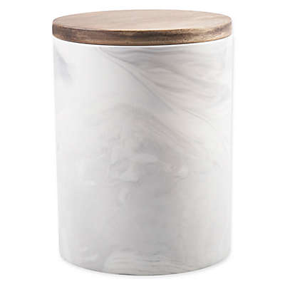 Artisanal Kitchen Supply® Coupe Marbleized 50 oz. Canister with Wood Lid in Grey